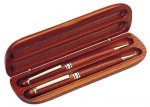 Rosewood Double Pen Case Pens and Pencils