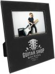 Leatherette Photo Frame with Large Engraving Area -Black/Silver Photo Frames