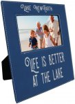 Leatherette Photo Frame with Large Engraving Area -Blue/Silver Photo Plaques