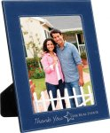 Leatherette Picture Frame -Blue/Silver Photo Plaques