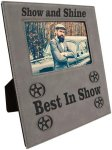 Leatherette Photo Frame with Large Engraving Area- Gray Photo Plaques