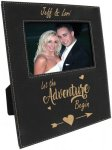 Leatherette Photo Frame with Large Engraving Area -Black/Gold Photo Plaques