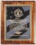 Walnut Gloss Plaque - US Flag Piano Finish Walnut Plaques
