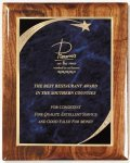 Walnut Gloss Plaque - Blue Star Sweep Piano Finish Walnut Plaques