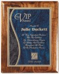 Walnut Gloss Plaque - Blue Swirl Recognition Plaques