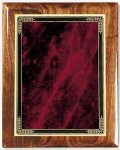 Walnut Gloss Plaque - Red Marble Mist Recognition Plaques