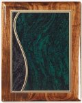 Walnut Gloss Plaque - Green Swirl Recognition Plaques
