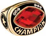 Red Glass Champion Ring Rings