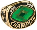 Green Glass Champion Ring Rings