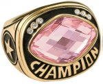 Pink Glass Champion Ring Rings
