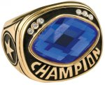 Blue Glass Champion Ring Rings