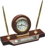 Rosewood Piano Finish Desk Clock W/Two Pens Rosewood clocks