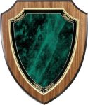 Walnut Vaneer Shield Plaque with Green Marble Plate Shield Plaques