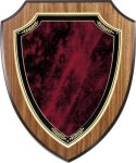 Walnut Vaneer Shield Plaque with Sienna Marble Plate Shield Plaques