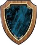 Walnut Vaneer Shield Plaque with Blue Marble Plate Shield Plaques