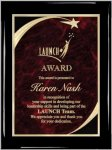 Ebony Red Star Sweep Plaque Star Plaques