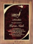 Walnut Plaque - Red Star Sweep Star Plaques
