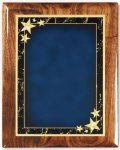 Walnut Gloss Plaque - Blue Star Achievement Star Plaques
