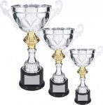 Silver Metal Loving Cup with Gold Accent Trophy Cups