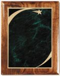 Walnut Gloss Plaque - Green Star Sweep Walnut Plaques
