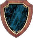 Walnut Shield Plaque with Blue Marble Plate Walnut Plaques