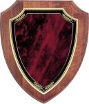 Walnut Shield Plaque with Sienna Marble Plate Walnut Plaques