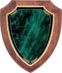 Walnut Shield Plaque with Green Marble Plate Walnut Plaques