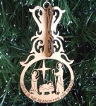 Manger Christmas Ornament Wood Christmas Ornaments 3D
