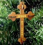 Christian Cross Ornament Wood Christmas Ornaments 3D