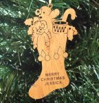 Christmas Stocking Ornament Wood Christmas Ornaments
