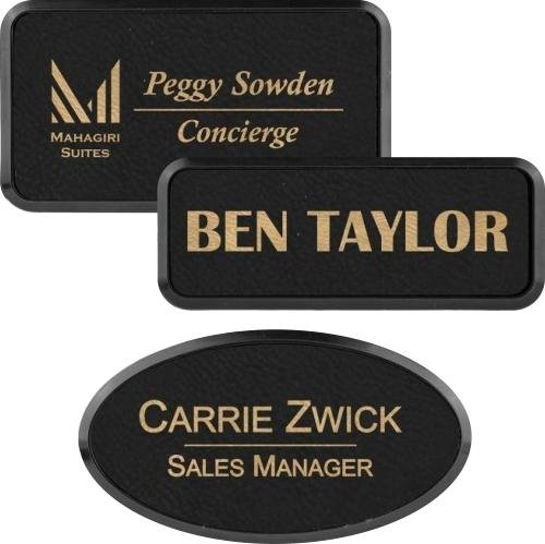 Leatherette Name Badge with Black Plastic Badge Frame Black